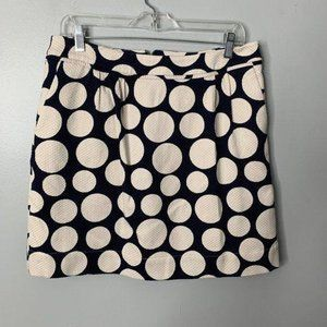 Boden Blue Cream Polka Dot Knit Skirt